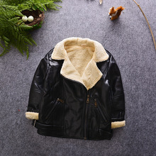 2016 Fashion Kids Jackets Warm Thicken Fleece Kids PU Leather Jacket Boys Leather Coats Children Outerwear