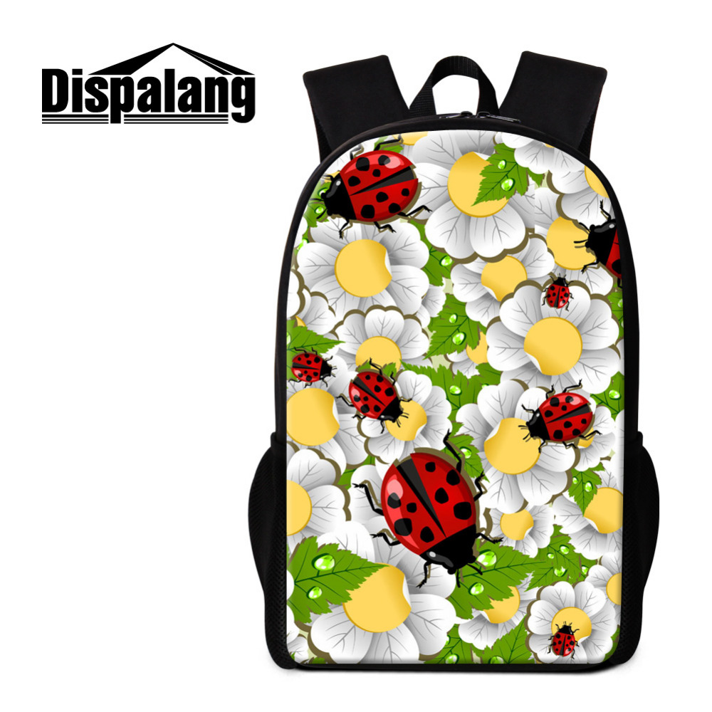 Dispalang Ladybug Womens Backpack Flower 3d Printing 16 Inch Children School Bags For Teenagers Girls Kids Shoulder Book Bag