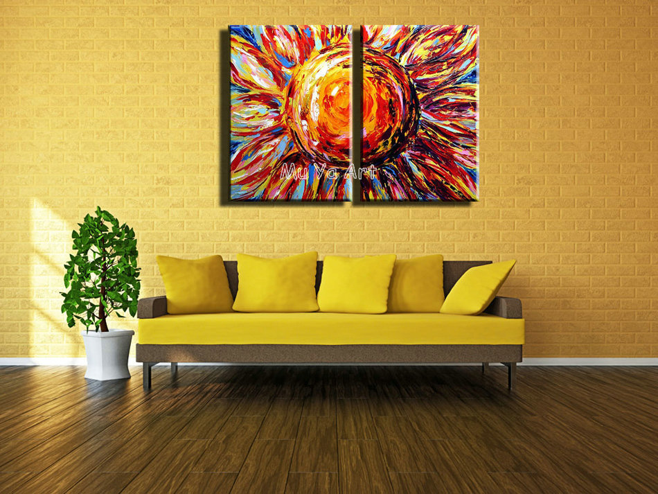 Decorative vintage Acrylic paint Abstract 2 piece canvas wall art ...