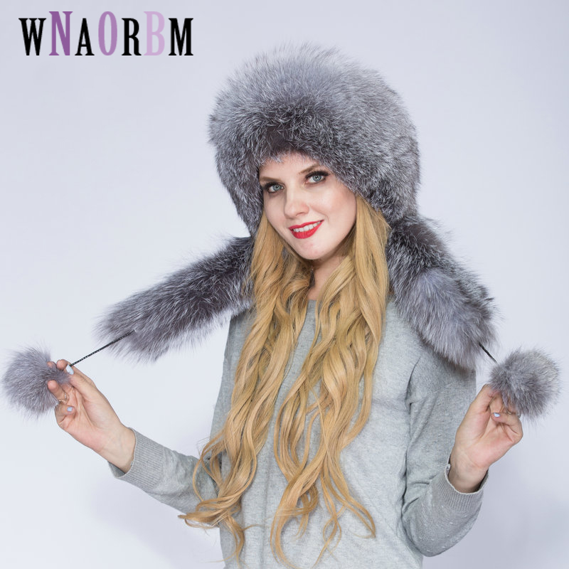 Authentic women's winter hat fox fur and rabbit fur hat with 2 fluffy fox Russian tail winter warm Mongolian hat