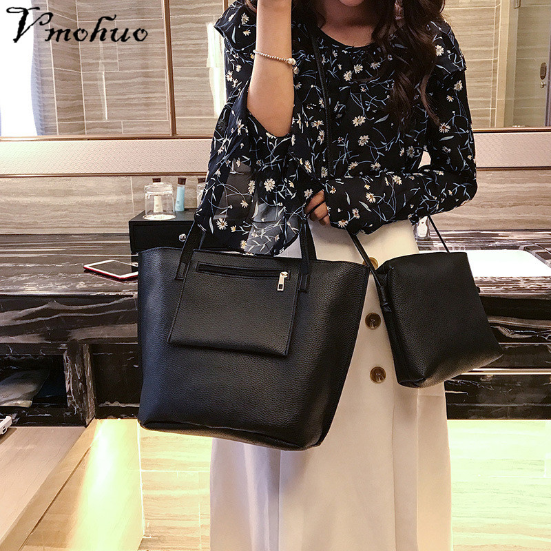VMOHUO 4pcs/set Fashion Women PU Leather Handbag Lady Large Capacity Shoulder Bag Sets Messenger Bag Clutch Casual Tote Bags 3