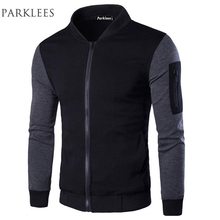 Bomber Jacket Men Veste Blouson Homme 2017 Mens Fashion Patchwork Sleeve Zipper Baseball Jacket Light Weight Mens Spring Jackets