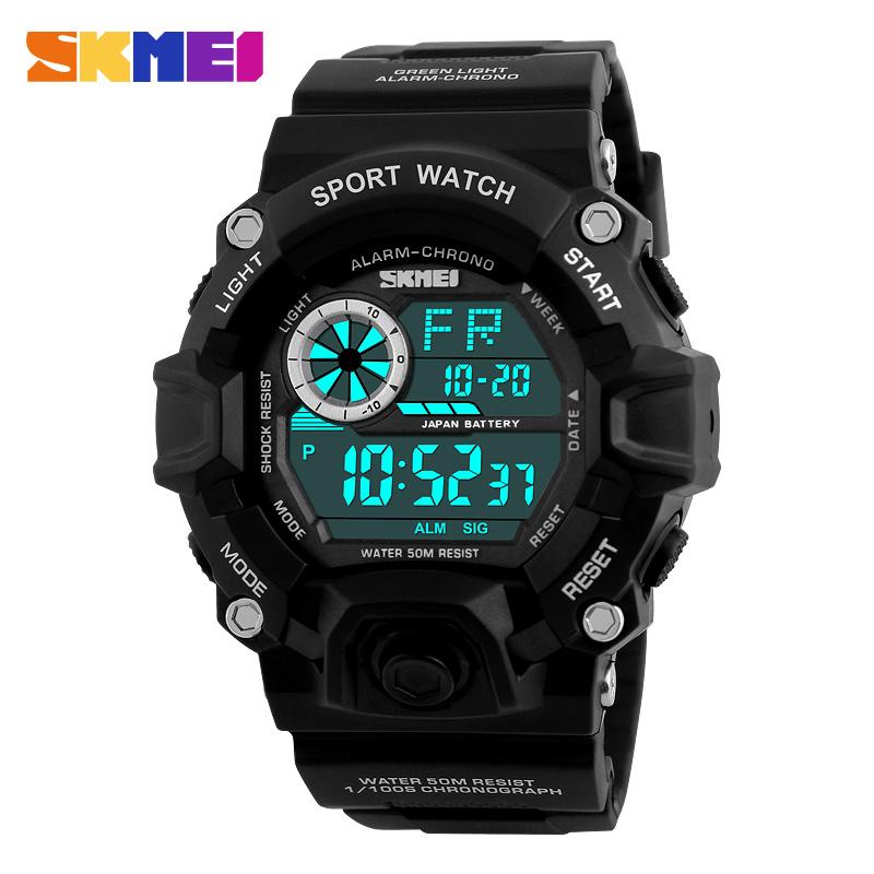 Prix pour Skmei 1019 hommes numérique montres mode sport montre chronographe alarme résine verre horloge led militaire homme sport montres