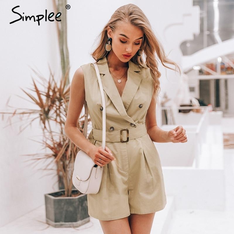 Simplee Elegant sashes khaki cotton women playsuit Summer pockets button zipper rompers short jumpsuit Office ladies overalls