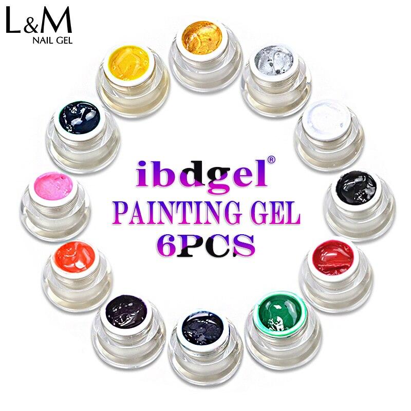 6 Pcs ibdgel Painting Gel Nail Polish Soak Off Pure Colors Solid Nail Art Design жидкость domix green professional nail gel polish remuver