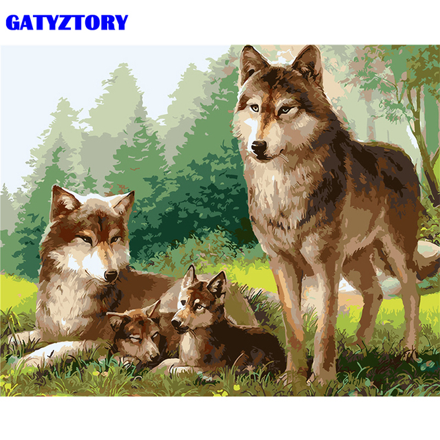 GATYZTORY Frame Wolf Family Animals DIY Painting By Numbers Kits Acrylic Paint On Canvas Coloring By Numbers Wall Art Picture