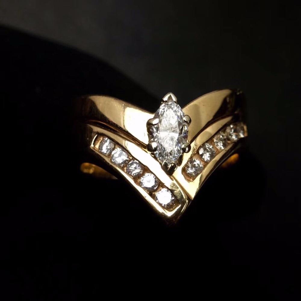Bague en diamant 0.65ct pur 14 K bijoux en or véritable 100% bijoux en diamants blancs naturels bagues de fiançailles pour femmes de mariage pour hommes