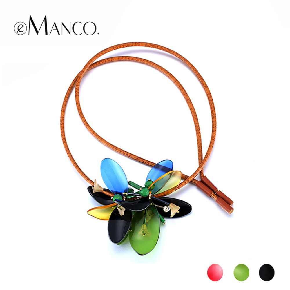 EManco Commercio All'ingrosso acrilico collana di dichiarazione del fiore in pelle regolabile 3 colori verde collane per le donne di modo colar feminino