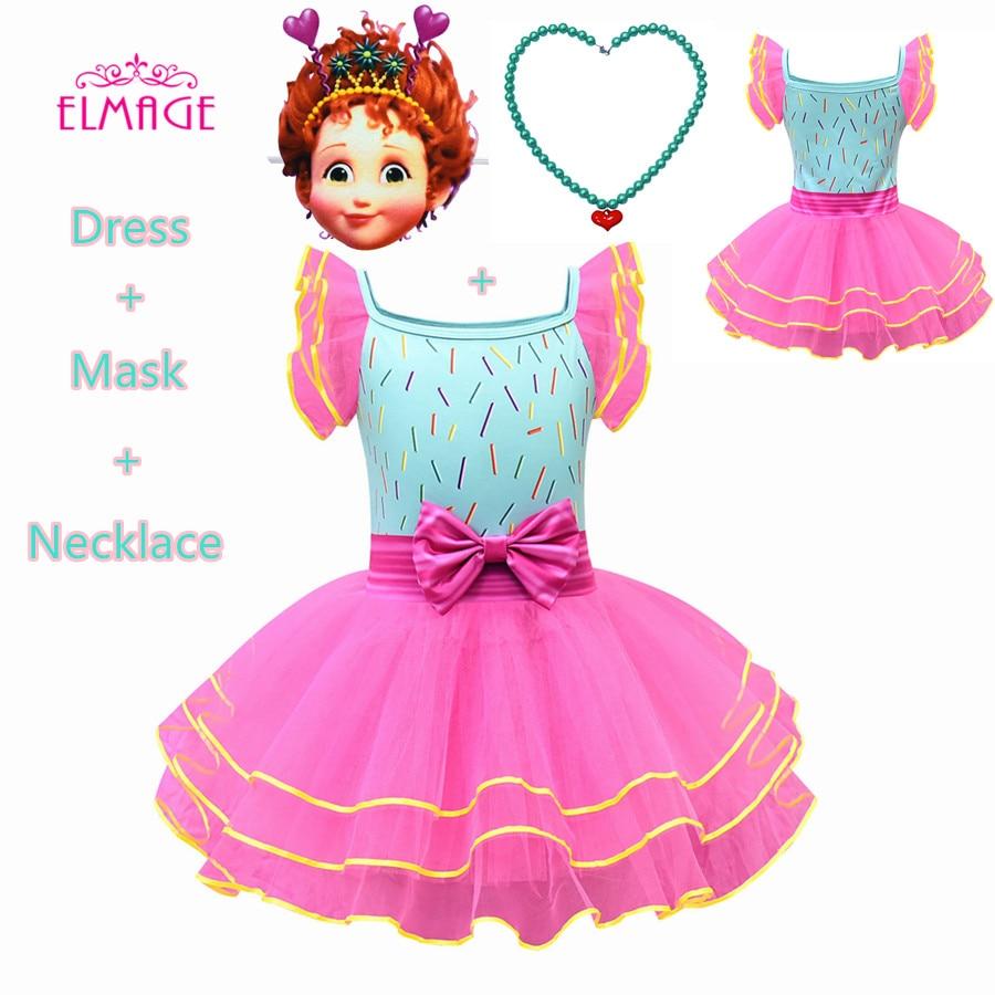 LOL Fancy Dress Party Nancy Clancy Cosplay Girls Costume Fancy Nancy Kids Wedding Birthday Party Princess Dress Mask+legging Set