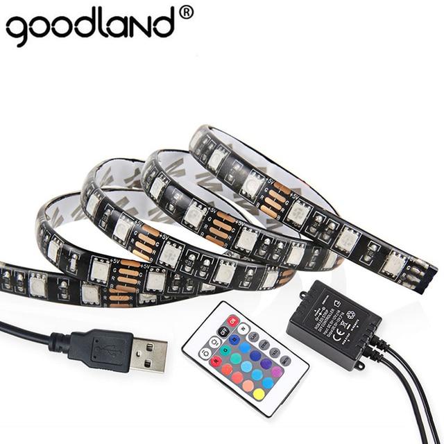 5V USB LED Strip 5050 60LEDs/m 0.5m 1m 2m RGB LED Light TV Background With 3keys 24keys Controller IP65 Waterproof Ribbon LED