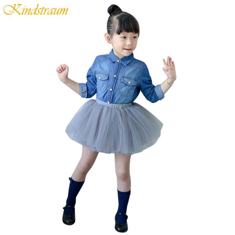 Kindstraum 2017 Baby Girl Shirt Denim 12M-4Y Spring Long Sleeve Kids Blouses for Toddler Girls Fashion Skirt Jeans Shirt, MC582