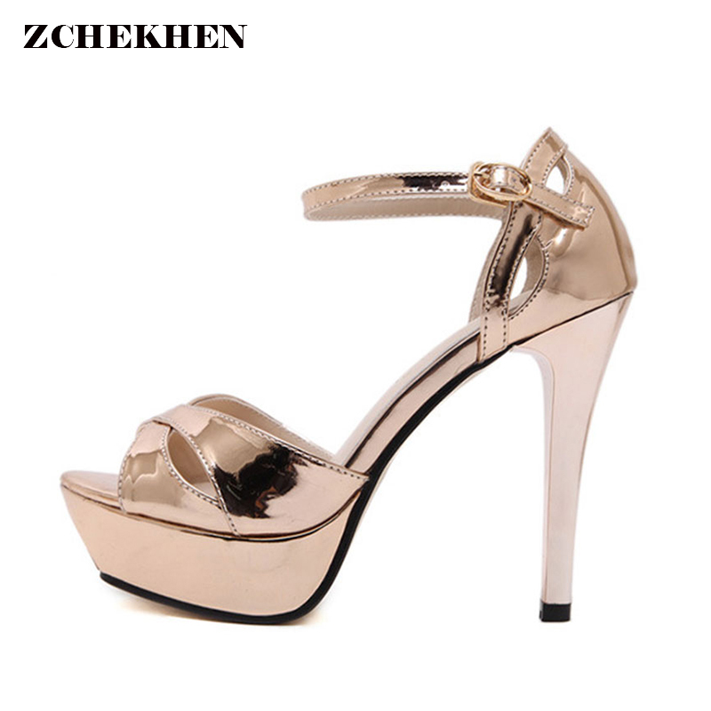 Gold Woman Pumps Cross-tied Ankle Strap Wedding Party Shoes Platform Fashion Women Shoes High Heels patent leather ladies shoes 2018 new big size 34 42 women cross tied pumps stiletto ankle buckle gladiator high heels blue red platform wedding bridal shoes