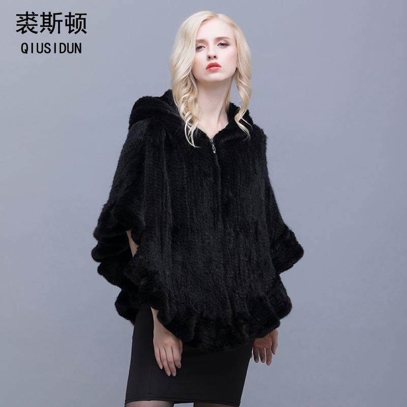 Genuine Mink Knit Jacket Women 39 s Cloak Flounced V Neck Hooded Jacket Fur Coat Russian Women Lotus leaf The edge of the Fur Coat in Real Fur from Women 39 s Clothing