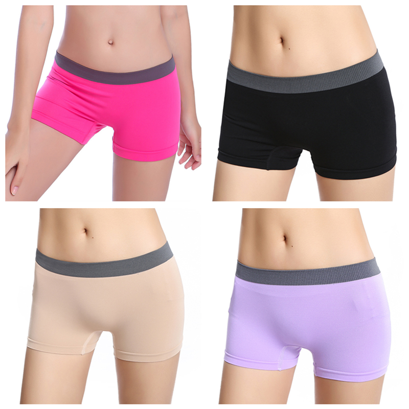 New 1PC Women Shorts Workout Waistband Skinny Shorts Trousers Seamless Boxer Safety Pants Candy Colour Solid