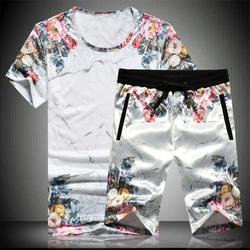Изысканная футболка и шорты в китайском стиле с цветочным принтом, летний костюм 2018 года, новые мягкие эластичные мужские короткие