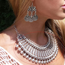 Yumfeel Antique Silver Bohemian Style Gypsy Love Affair Metal Carving Flower Ball Long Pendant Statement Necklaces Boho Jewelry