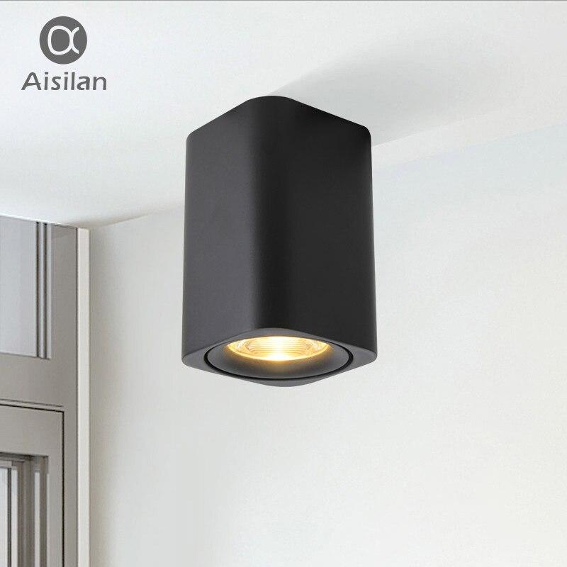 Aisilan led Surface Monté Carré Spot encastrable au plafond pour Chambre/Couloir/Couloir/Foyer AC85-260V COB Carré Spot light