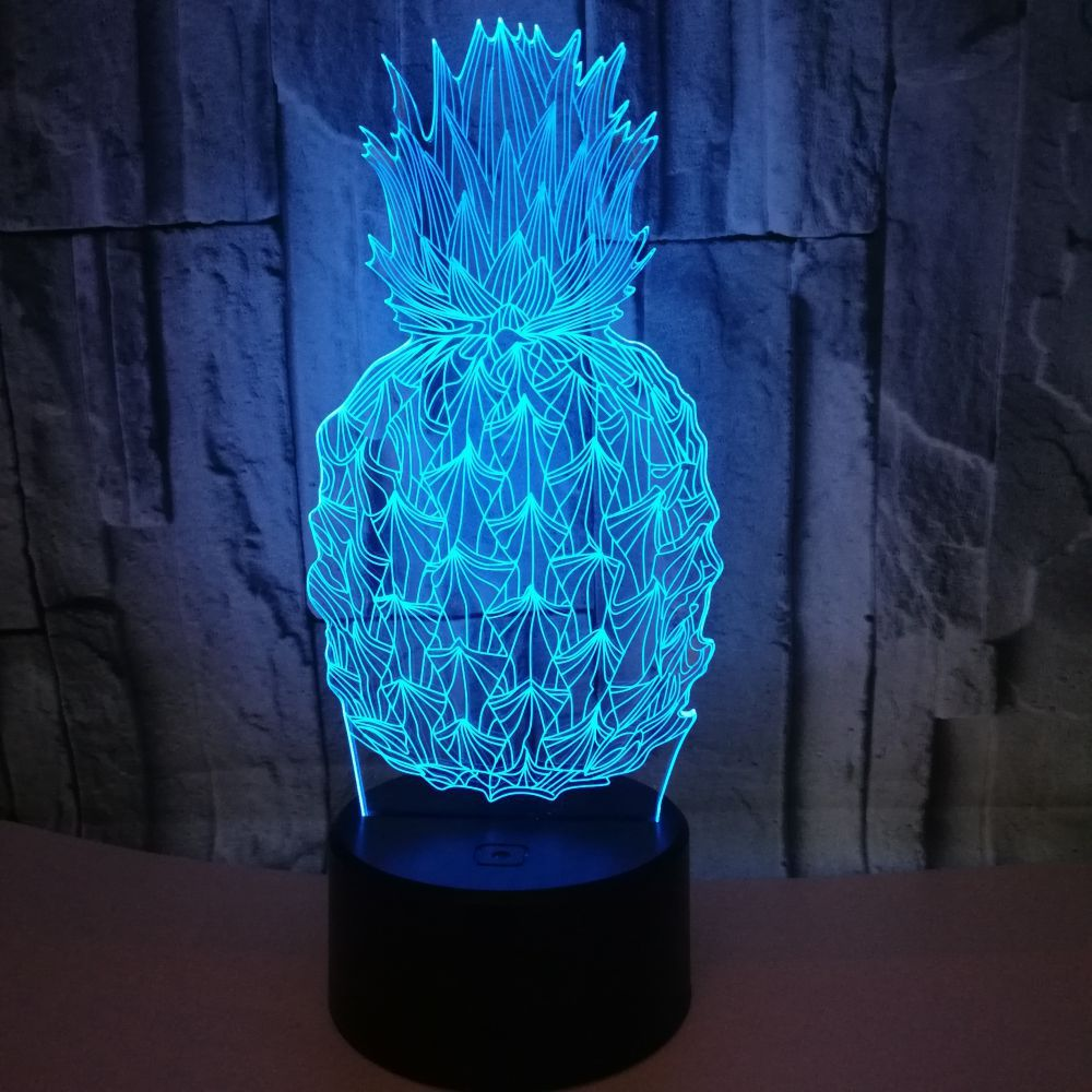Pineapple Fruit 3D Visual Bulb Optical Illusion Colorful LED Lamp Touch Holiday Night Light Baby Sleeping Lighting For Kids Gift