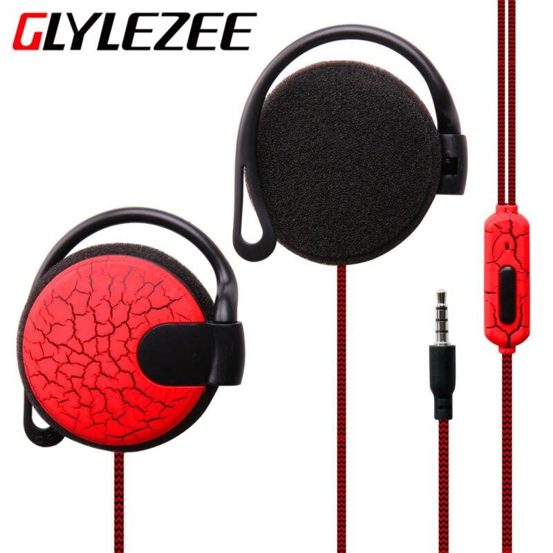 Glylezee Sport Crack Headphones 3.5mm Headset Stereo HiFi EarHook Earphone For Mp3 Player Computer Mobile Telephone Earphone