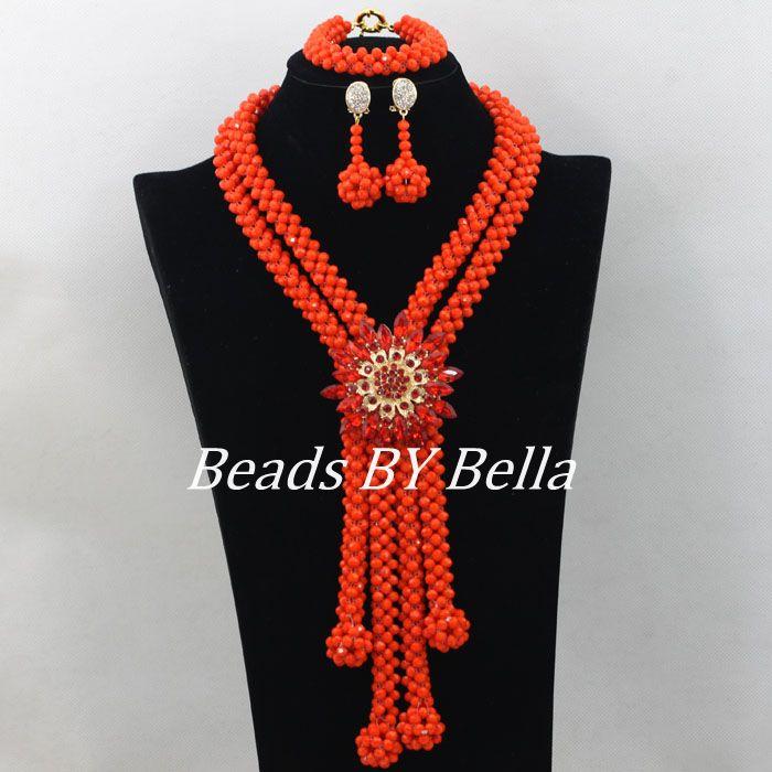 77cbd8ccb7c2 Incroyable Orange Mariage Nigérian Perles Africaines Ensemble de Bijoux En  Cristal Perles Collier Bijoux De Mariée Indienne Définit Livraison Gratuite  ...