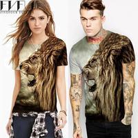 Mode T-shirt Vrouwen Zomer Stijl Vrouwen Mannen T-shirt Unisex Bruin leeuw Tijger 3d Print Korte Mouw Cool Stellen Tee Plus Size