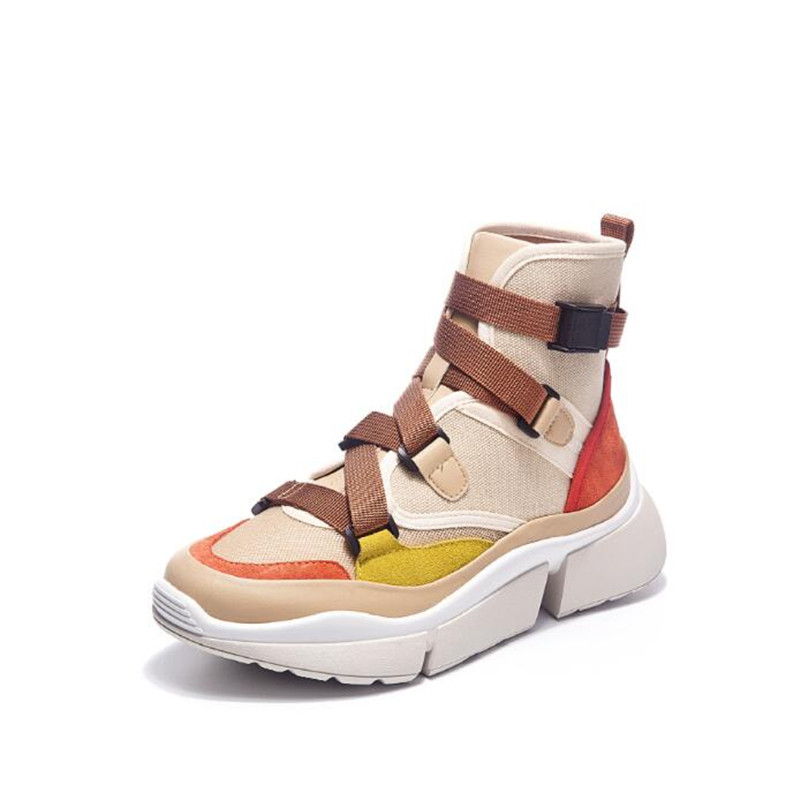 2018 fashion sneakers New Fashion Genuine Leather+Canvas Clunky Women Vulcanize Shoes Female Platform Breathable shoes woman