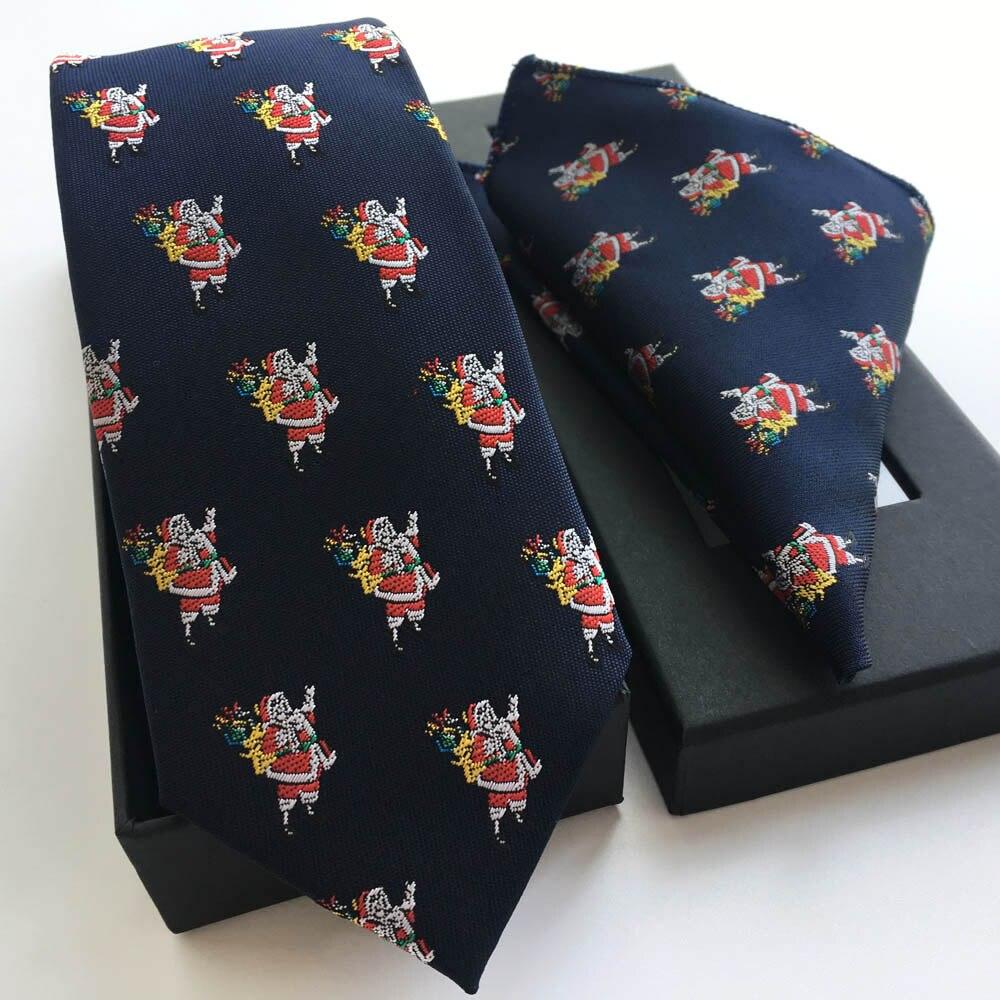 Men Luxury Silk Ties Set Unique Christmas Santa Claus Necktie with Handkerchief Beautiful Gift Box for Xmas