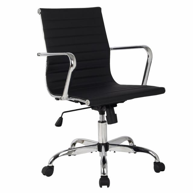 2016 Nova Hight qualidade PU De Couro De Alta Volta Da Cadeira Do Escritório Executivo Mesa Do Computador Ergonômico Tarefa HW51439BK