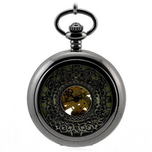 Luminoso Negro Retro Reloj de Bolsillo Mecánico Automático de Los Hombres Reloj de Las Mujeres Hollow Reloj Reloj Llavero Colgante de Bolso Saat