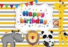 Laeacco Cartoon Animals Happy Birthday Scene Baby Photography Backgrounds Customized Photographic Backdrops For Photo Studio