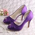 Wedopus High Heel Pumps Bride Wedding Shoes for Women Purple Satin Euro 34-42