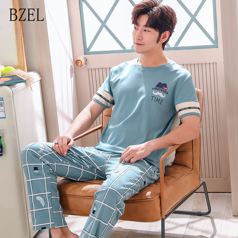 BZEL Casual Cotton Pajamas Sets For Men 2019 Spring Autumn Short Sleeve Cartoon Pyjamas Male Homewear Loungewear Home Clothes