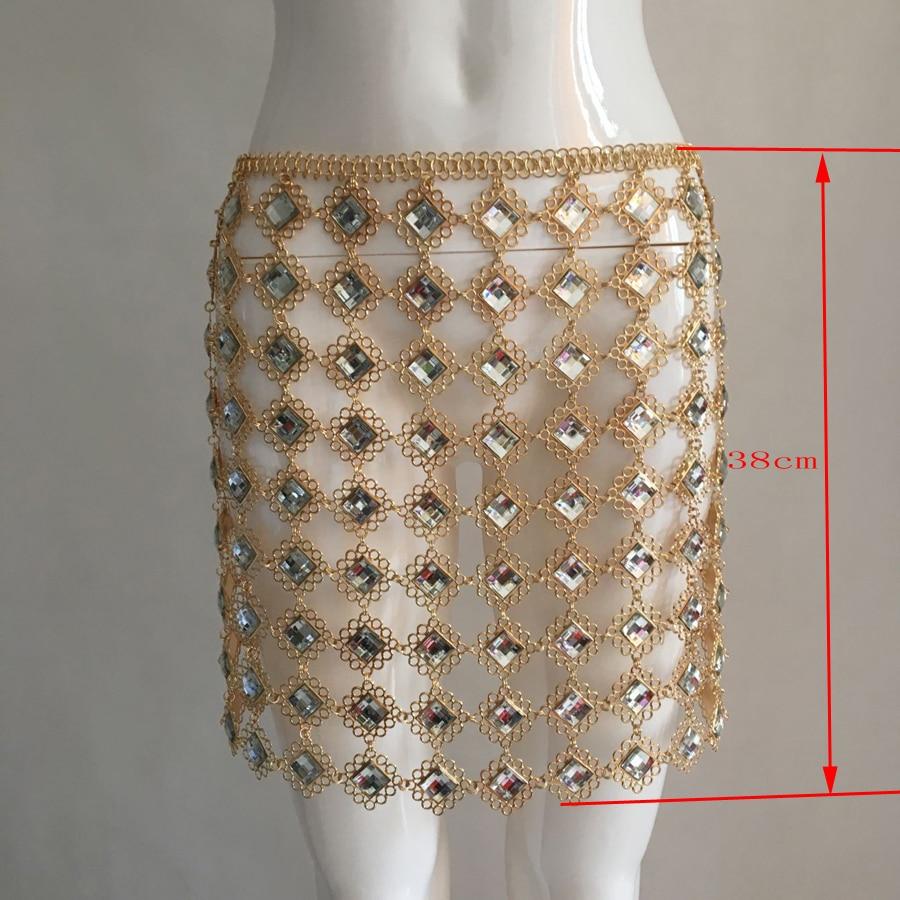Clubwear De Creux Diamants Cristal out Métal Paillettes Party Luxe Taille Chaînes Femmes Jupe Tenues Glitter Sexy PqzxZwx