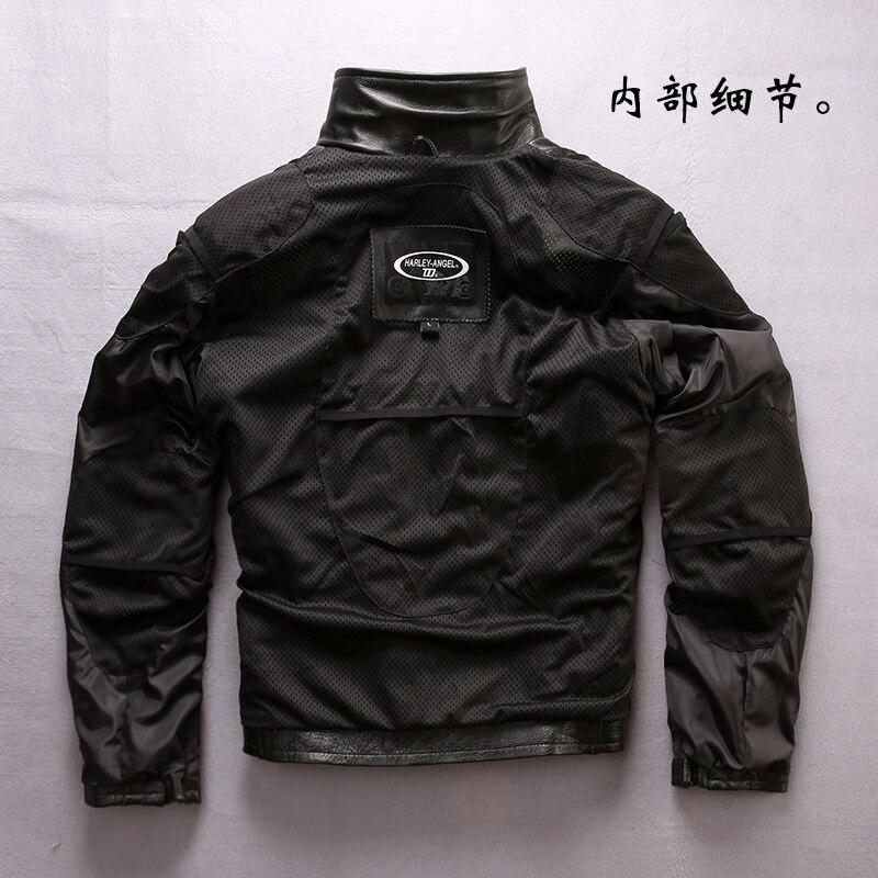 Slim D'hiver Fit Veste Crâne Ange Zipper Vache Noir Oblique Manteaux Harley Hommes De Véritable Nouveau En Cuir Peau Moto K1Fcl3JuT5