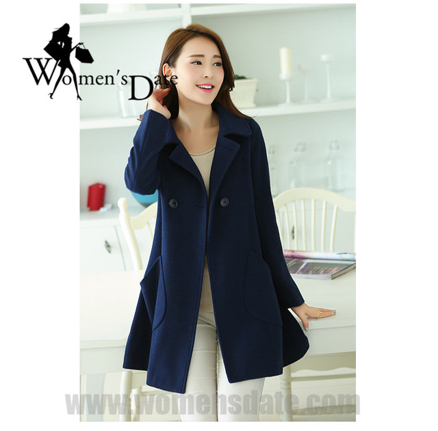 75023ad4fea6 WomensDate 2017 Wholesale Spring Autumn New Girl Cute Thick Wool Coat Long  Coat Slim Women s Navy Wool Coat Trench Coat