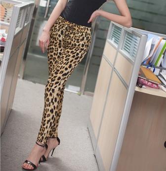 Big size moda de nova mulheres da cópia do leopardo calças moda Casual calças soltas ZQ07