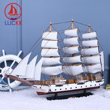 LUCKK 80 CM Dark Red DIY Wooden Model Ships Sailboat With Nets Mediterranean Style Home Decoration Crafts Free Shipping 97119A