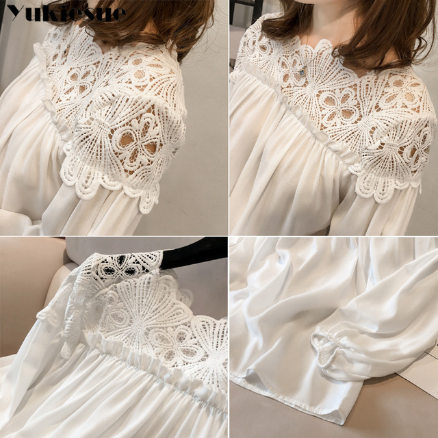 white woman blouses summer women's shirt blouse for women blusas womens tops and blouses lace chiffon shirts ladie's plus size 6