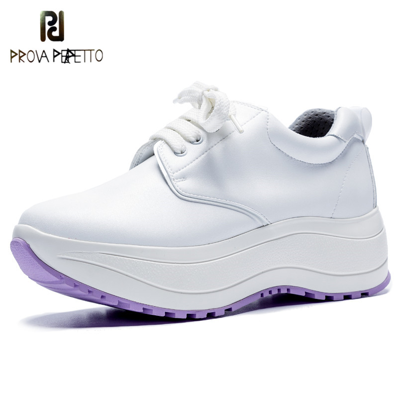 Prova Perfetto New Platform Wedges Shoes Woman Genuine Leather Lace-up Shoes Round Toe Casual Shoes Comfort Student White Shoes prova perfetto 2018 hot do old dirty shoes woman sneakers round toe flats women lovers white shoes retro platform casual shoes