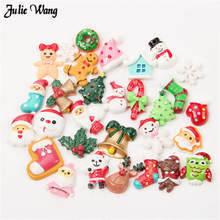 Julie Wang 20pcs Mix Resin Xmas Slime Beads Flatback Cabochon Phone Case Scrapbooking Christmas Decor DIY Hair Clip Accessory