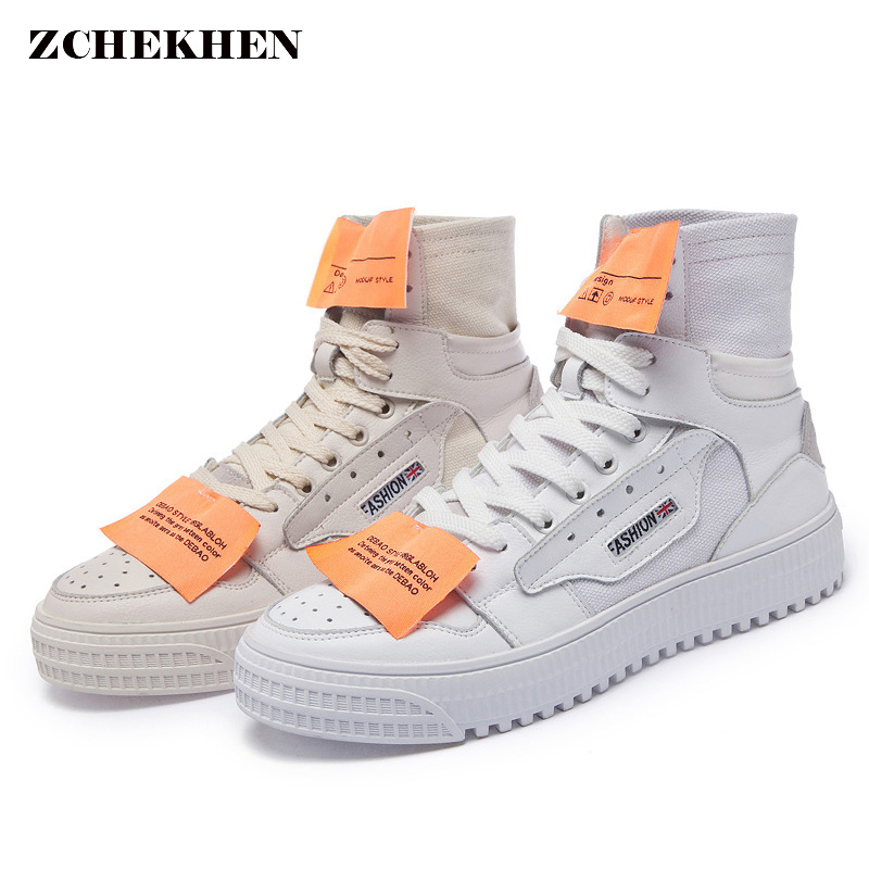 Autumn Fashion kanye west Off Casual White Shoes Women platform Sneaker Thick Soled high top Shoes Flats Cross-tied Lace Up 2016 hot low top wrinkled skin cockles trainers kanye west chaussure flats lace up mens shoes zapatos mujer casual shoes