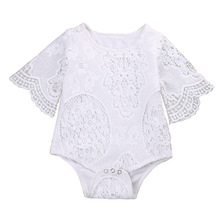 HOT Lovely Gifts Baby Girls White ruffles Sleeve Romper Infant Lace Jumpsuit Clothes Sunsuit Outfits For Infant toddler(China)