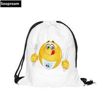 2016 3D Fashion Printed Animal Emoji Pattern Cute Girl'S Backpacks Women's Lady souvenir Travel Shopping Drawstring Bag