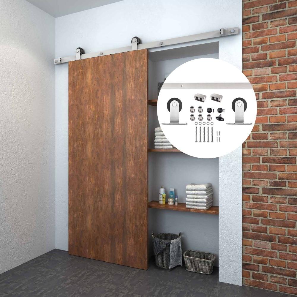 4.9FT/6FT/6.6FT Stainless Steel Solid Wood Interior Barn Sliding Door Hardware