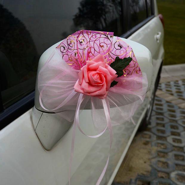 Jade artificial flower bandwagon wedding car decoration car hangback side door rear view mirror - Cool door cars decoration ...