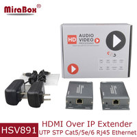 Mirabox TCP IP HDMI UTP Extender Cat5 by Rj45 with Audio Extractor HD 1080P HDMI Transmitter Receiver via Cat5e/Cat6 over IP