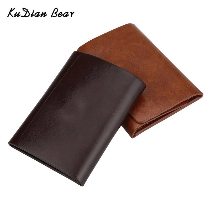 KUDIAN BEAR Կաշվե տղամարդկանց դրամական հոլովակ Դրամապանակ մագնիս Minimalist կեղծ դիզայներներ Դրամապանակ և տեսահոլովակ Rfid Carteras Hombre-- BID057 PM49