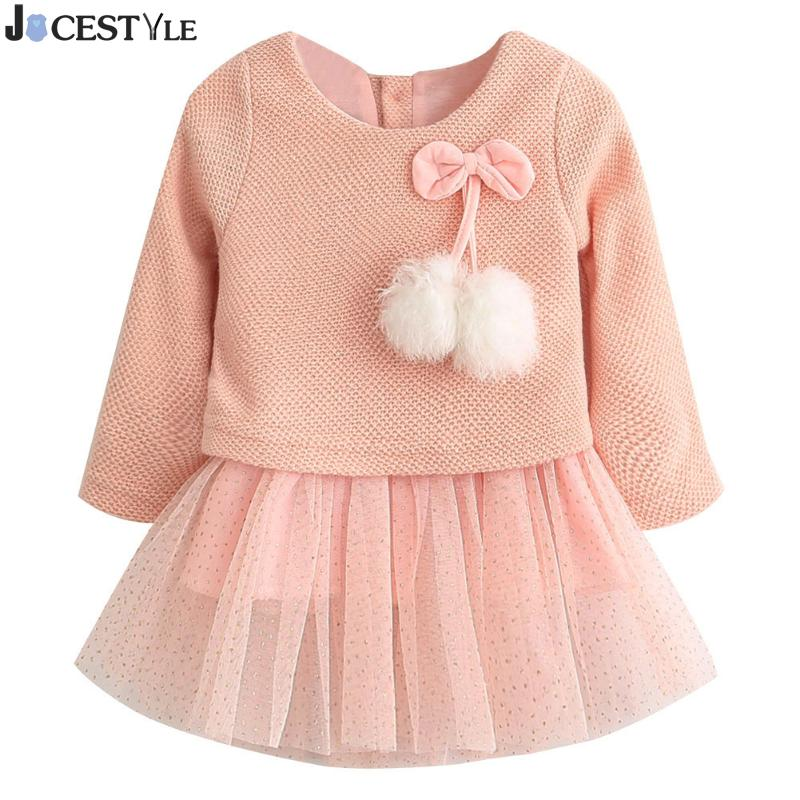 Baby Girls Knitted Wool Gauze Fur-Ball Princess Gold-Plated Christmas Dress Bow Ruffles Velvet vestido infantil winter dress