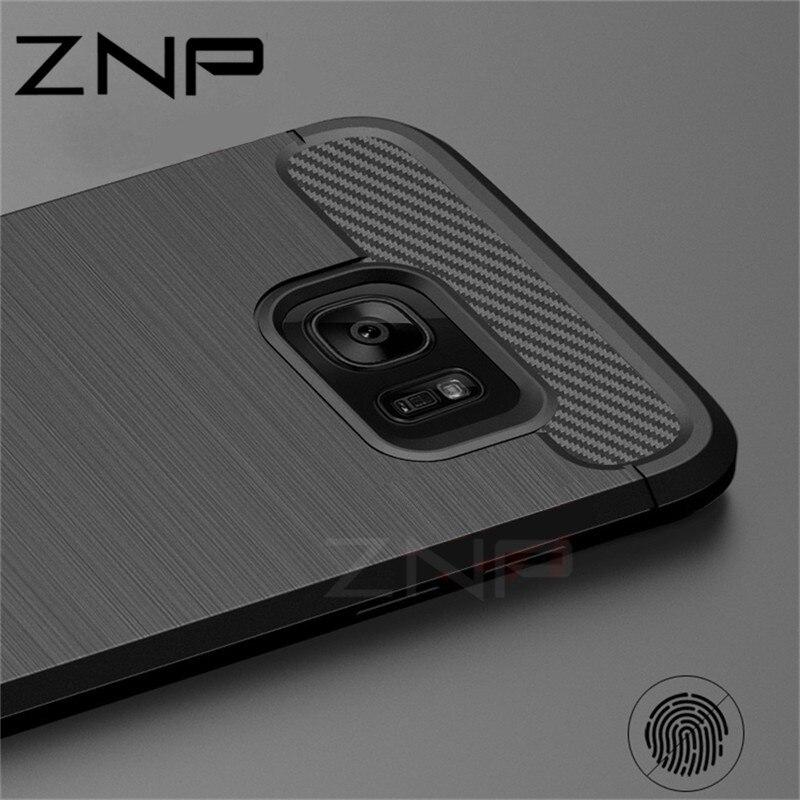 Galleria fotografica ZNP Soft Silicone Fiber Cases For Samsung Galaxy S6 S7 edge S8 Plus Cover For Samsung Galaxy J5 J7 A3 A5 A7 2017 Note 8 S8 Case