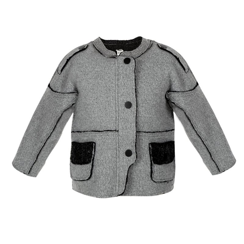 Gray Round Neck Woolen Cloth Unisex Coat Jackets Winter Warm Little Boy Girls Splicing Jacket Outwear j2